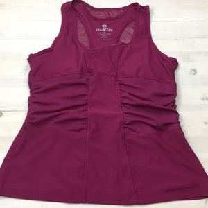 Velocity ruched work out tank with shelf bra sz L